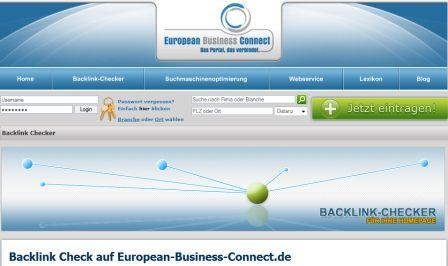 Backlink Check auf European-Business-Connect.de