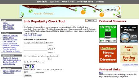 Check Backlinks Tool von seocentro