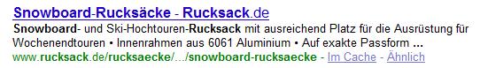 """Ergebnis einer Google-Suche nach """"Rucksack Snowboard"""""""