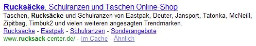 """Ergebnis einer Google-Suche nach """"Rucksack"""""""