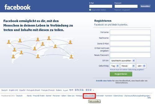 Facebook Seite erstellen - Schritt 1