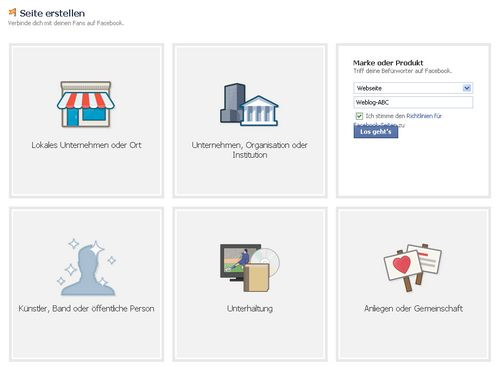 Facebook Seite erstellen: Name und Kurzbeschreibung angeben