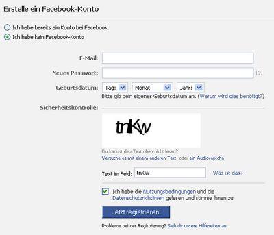 Facebook Konto erstellen